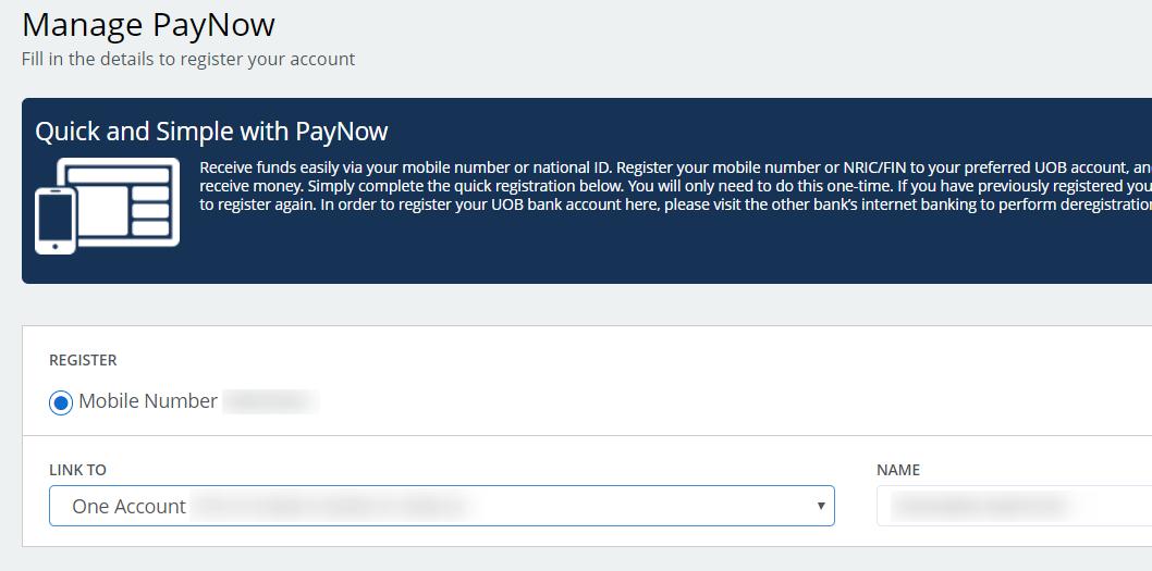 PayNow登録画面
